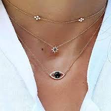 layered evil eye pendant necklaces