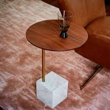 cube c side table walnut white marble