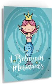Amazon Com Smile Art Design I Believe In Mermaids Quote Wall Decor Blue Mermaid Decor Metal Print Kids Room Decor Metal Wall Art Baby Room Decor Nursery Decor Made In The Usa 12x8