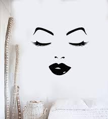 Vinyl Wall Decal Beauty Salon Female Woman Face Sexy Lips Eyes Sticker Wallstickers4you