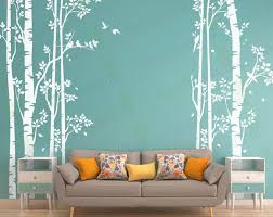 Birch Tree Wall Decal Forest Large Trees Decals Nursery Etsy Birch Tree Wall Decal Living Room Murals Wall Stickers Living Room