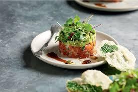 Salmon tartare with wasabi, avocado and ...