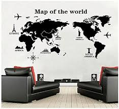 Amazon Com Generic World Map Wall Decal Vinyl Wall Art Removable Sticker Large Peel And Stick Art Mural Home Office Decor Home Kitchen