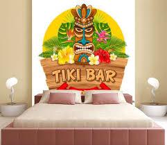 Wooden Tiki Mask And Signboard Of Bar Wall Mural Wallpaper Murals Pagina