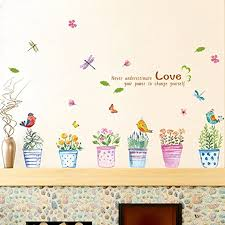 Amazon Com Wallpark Creative Colorful Flower Pot Bird Butterfly Removable Wall Sticker Decal Living Room Bedroom Home Decoration Adhesive Diy Art Wall Mural Home Kitchen
