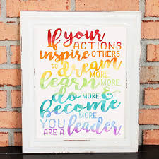 Buy Inspirational Quotes Wall Art If Your Actions Inspire People John Quincy Adams Gift For Boss Or Coworker Leadership Quote Watercolors Handwritten Rainbow