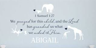 1 Samuel 1 27 We Prayed For This Child Personalized Nursery Wall Decal