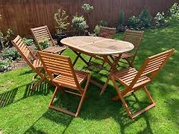 wooden garden table six chairs 71