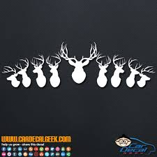 Mounted Deer Heads Car Decal Sticker Hunting Decals