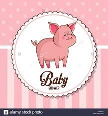 Tarjeta De Baby Shower Invitacion Lindo Cerdito Imagen Vector De