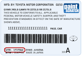 toyota touch up paint color code