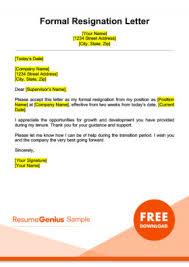 resignation letter sles free