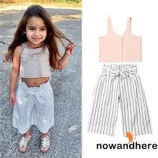 Set áo yếm sát nách + quần dài kẻ sọc thời trang cho bé gái ...