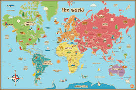 Wall Pops Wpe0624 Kids World Dry Erase Map Decal Wall Decals Decorative Wall Appliques Amazon Com