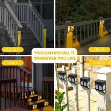 Eauoh Ish09 M707449mn Solar Lights Outdoor Decorative Waterproof Led Fence Lights Solar Deck Powered Step Lights For Front Door Back Yard Railing War