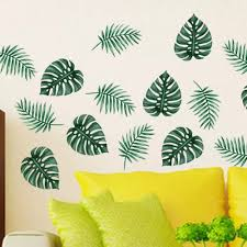 Au Large Green Palm Leaf Wall Art Mural Removable Vinyl Decal Sticker Home Decor Wall Stickers Aliexpress