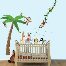 Large Palm Tree Wall Stickers And Mini Jungle Animal Decals