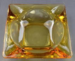 vintage ashtrays amber glass