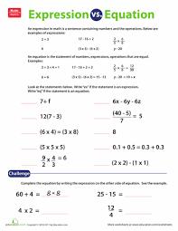 expression vs equation worksheet