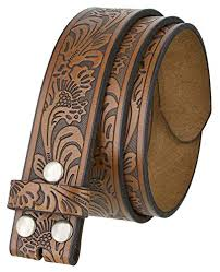western tooled leather belt strap w