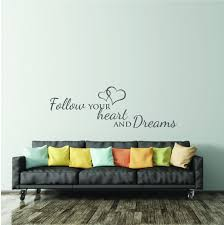 Wall Decal Bedroom Quote Inspirational Wall Sticker Saying Living Room Wall Art Sticker Quote Wall Decor Follow Your Heart And Dreams Wall Decor Quotes Living Room Wall Wall Decals For Bedroom