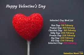 happy valentine day week list 2020 february