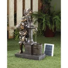 boy and girl outdoor garden solar water