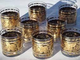 country gold old fashioned glasses