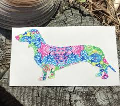 Brightly Colored Dachshund Dog Vinyl Decal Dachshund Decal Etsy In 2020 Decals For Yeti Cups Dog Decals Dachshund Dog
