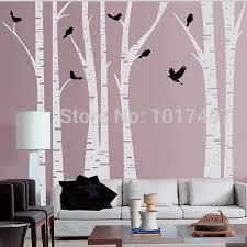 Large Size White Birch Tree Wall Decal With Birds Art Vinyl Tree Wall Stickers Home Decor Living Room Birch Tree Wall Decal Tree Wall Decalwall Decals Aliexpress