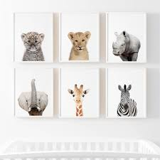 Lion Zebra Elephant Giraffe Baby Animals Art Print Poster Safari Animals Picture Painting Kids Room Baby Nursery Wall Decor Painting Calligraphy Aliexpress