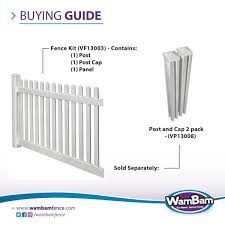 Wambam Fence 4 Ft H X 7 Ft W Premium Vinyl Classic Picket Fence Panel With Post And Cap Vf13003 The Home Depot