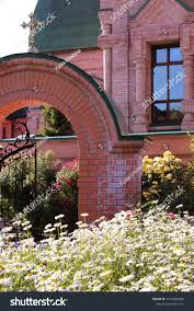 View Beautiful Redbrick Arch Forged Fence Religion Stock Image 1416406400