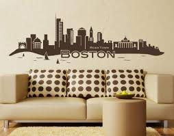 Amazon Com Style Apply Boston City Skyline Wall Decal Cityscape Wall Decal Sticker Mural Vinyl Art Home Decor 4197 Black 31in X 9in Home Kitchen