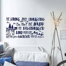 Amazon Com Battoo Be Brave Strong And Courageous Joshua 1 9 Bible Scripture Wall Decal Quotes For Boys Room Boys Nursery Baby Room Vinyl Letters Inspirational Wall Decor Davy Blue 34 Wx18 H Furniture