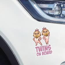 Yjzt 10 2 16 5cm Lovely Cartoon Car Sticker Decoration Twins Baby On B Bargain Industries