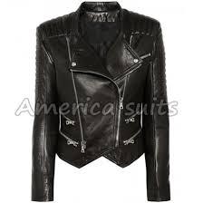 womens lambskin quilted biker jacket