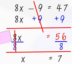breaking down 2 step equations math
