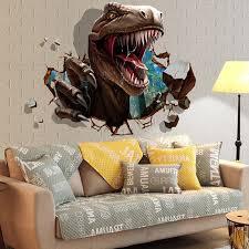 3d Dinosaur Wall Stickers Kids Rooms Dinosaur Assault Bedroom Living Room Decoration Mural Home Decor Stickers Decals Wallpaper Wall Stickers Aliexpress