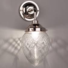 bathroom wall light with cut glass tear