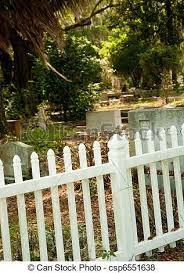 White Plastic Picket Fence White Platic Picket Fence Surrounding Historic Graveyard