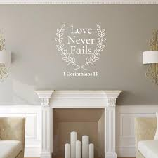 Love Never Fails Bible Verse With Laurels Vinyl Wall Decal 22578 Cuttin Up Custom Die Cuts