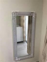 thick silver sequence framed mirror for