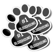 1 Bloodhound Dog Paw Print Vinyl Bumper Sticker Decals 4 Pack