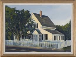 Kennedy Steve A White Cape Cod House With White Picket Fence Mutualart