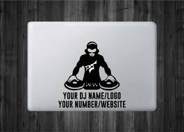 Customizeable Dj Producer Vinyl Decal With Glowing Dj Logo For Macbo Azvinylworks