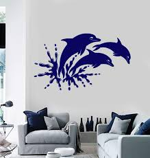 Vinyl Wall Decal Dolphins Marine Animals Ocean Bathroom Stickers Uniqu Wallstickers4you