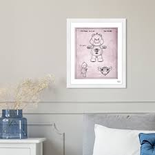 Shop Oliver Gal Carebears Champ Bear 1987 Symbols And Objects Framed Blueprint Wall Art Pink Black Overstock 28756215