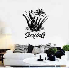 Vinyl Wall Decal Beach Palm Fingers Surfer Sports Water Surfboard Stic Wallstickers4you