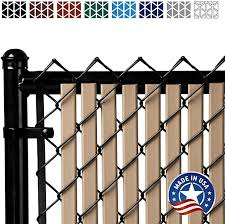 Amazon Com Tube Slats Privacy Inserts For Chain Link Fence Double Wall Vertical Bottom Locking Slats For 6 Fence Height Beige Garden Outdoor